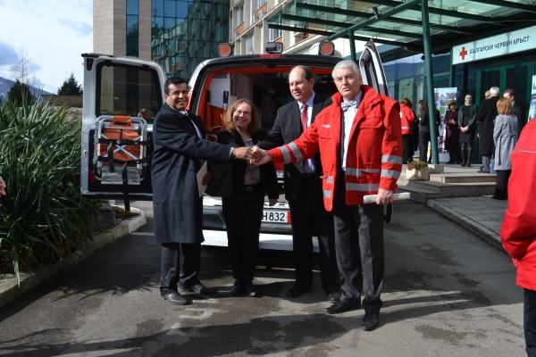 I Love Bg President Mr. Avinoam Katrieli (also President of BCCBI) Together with The Red Shield of David Donating Ambulances for the Bulgarian Red Cross